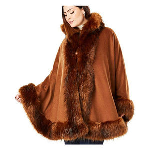 Jessica London Faux Fur Trim Wool Cape 14 16